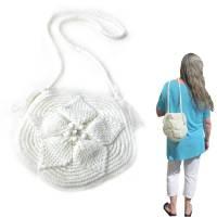 Schultertasche *White* Sommertasche, crochet 3D leaves bag, nachhaltig, gehäkelte Handarbeit Bild 1