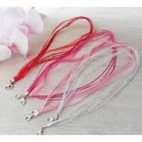 4 Stck. Maskenkette Masken-Band Mundschutz-Kette Alltagsmasken-Kette Karabiner rot pink rosa weiß Mund-Nase-Masken-Kette