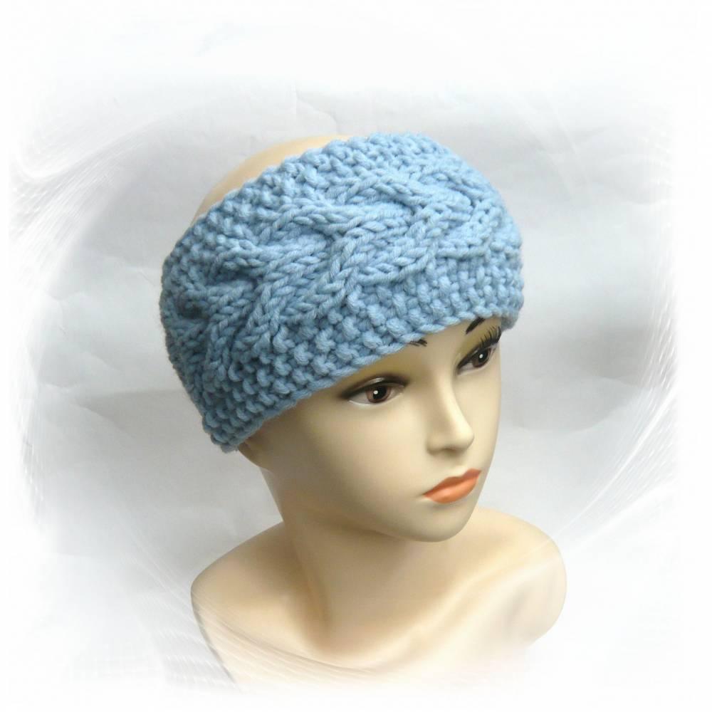 Stirnband gestrickt mit Zopfmuster hellblau, Haarband Winter Bild 1