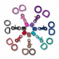 Buntes Zubehör für Hundeleinen, Scherenkarabiner, D-Ring, O-Ring, bunt, Endkappe, Scherenkarabinerhaken Bild 1