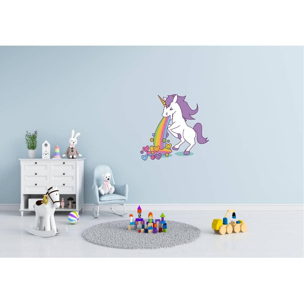 Liebevolles Wandtattoo Kotz Einhorn für das Kinderzimmer, Spielzimmer,konturgeschnitten in 7 Größen ab 20 cm B x 30 cm H Bild 1