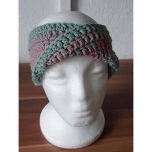♡ Stirnband Twist grau/rosa ♡ amigoll9 ♡ Deko ♡ Handmade ♡