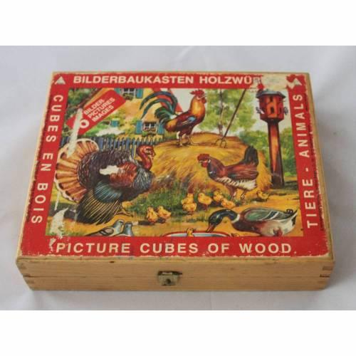 Vintage Puzzle Holzwürfel Bilderbaukasten Eichhorn
