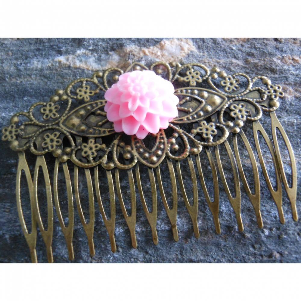 Bronze Haarkamm mit Blüte  Vintage Renaissance Bild 1