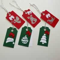 6 schöne Geschenkanhänger für Weihnachten, zweilagig, Set rot/grün Bild 1