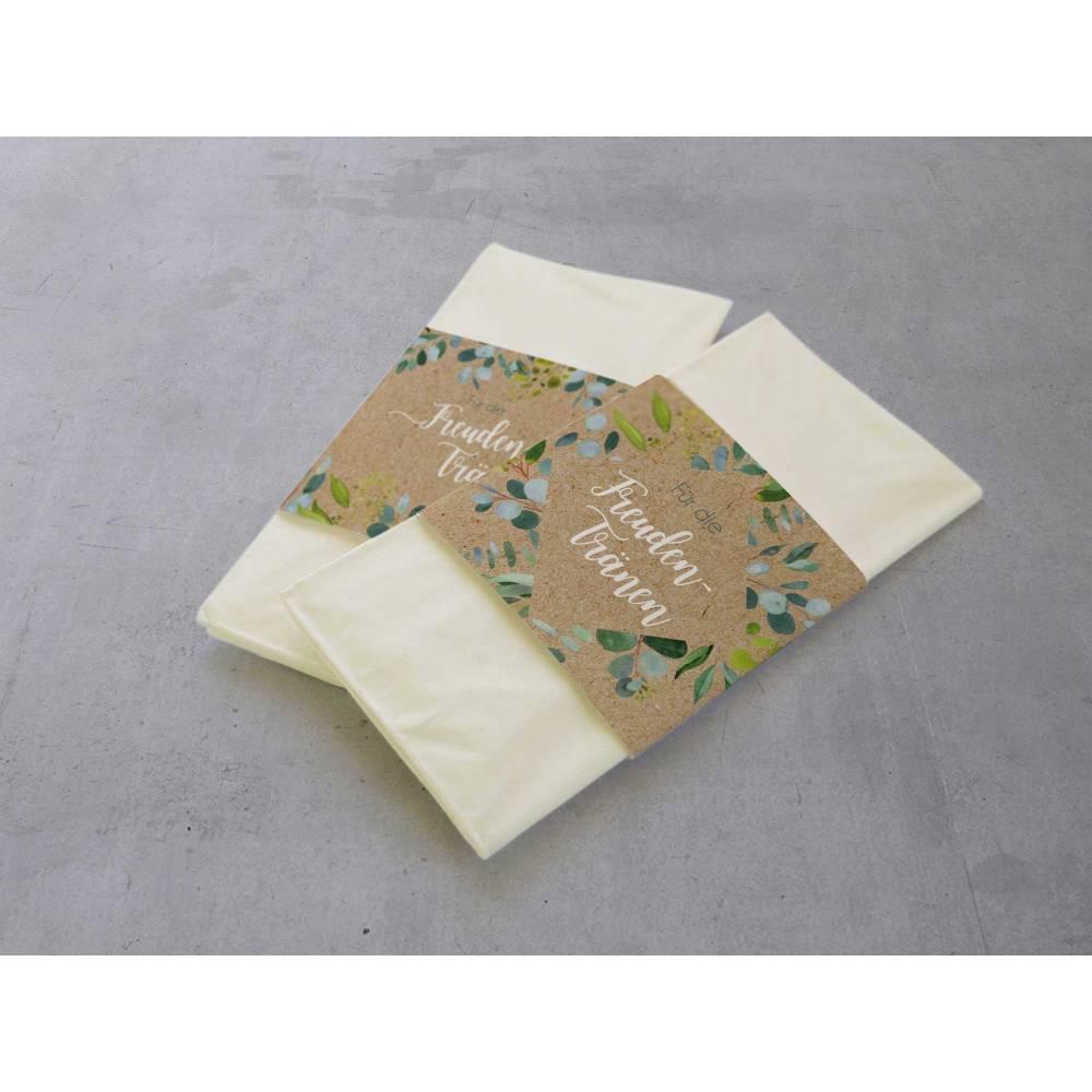 50 Stück Freudentränen Taschentuch Banderolen Eukalyptus Green Kraftpapier-Look Bild 1