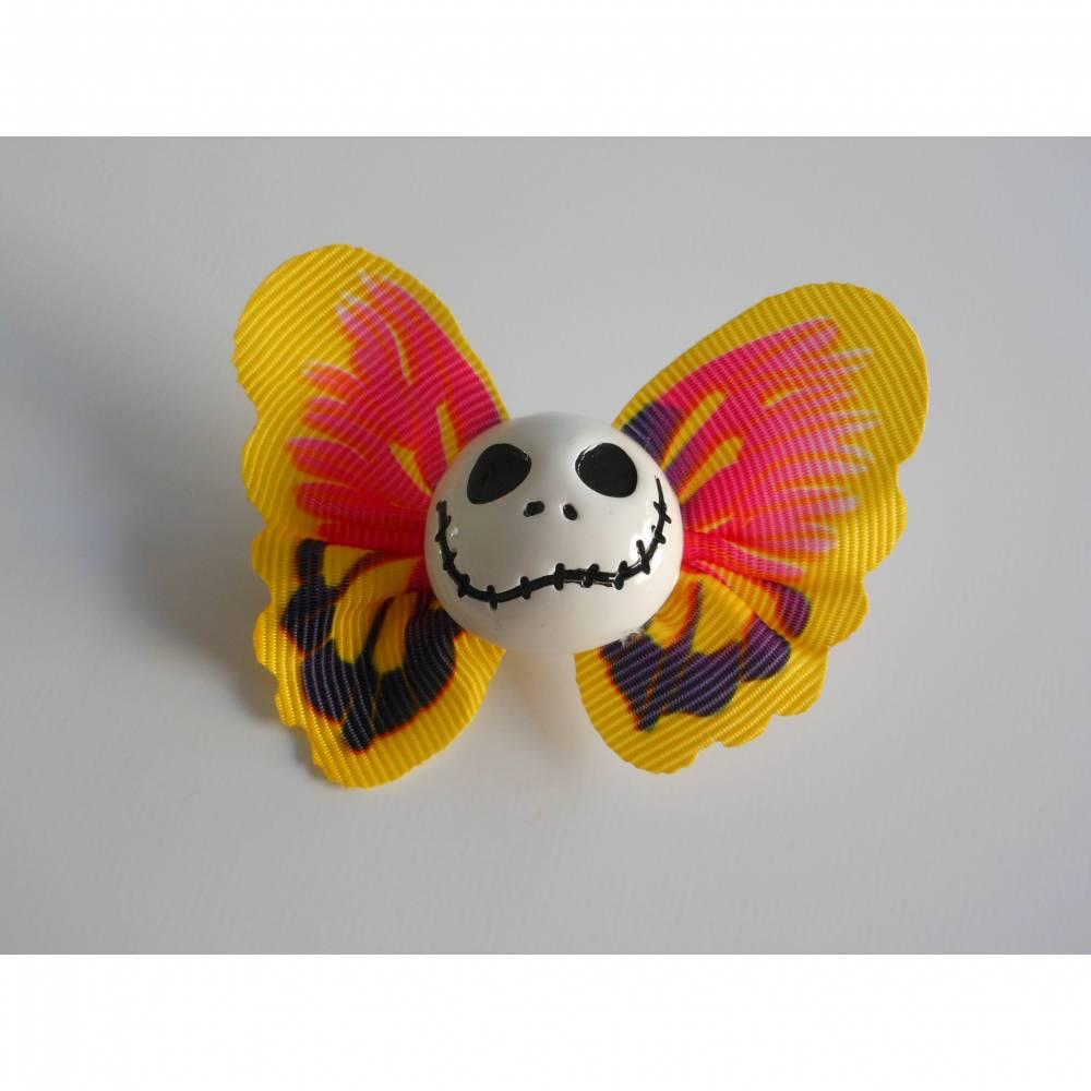 Brosche Skull  Schmetterling  Stoff Totenkopf gelb Bild 1