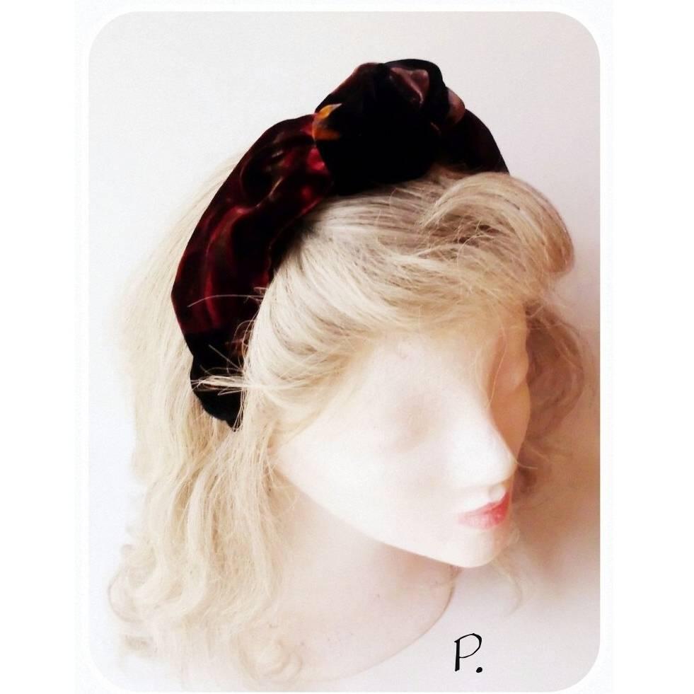 HaarReif; half hat; Turbanband / Vintage-Stoff > schwarzgrundig floral / one size Bild 1