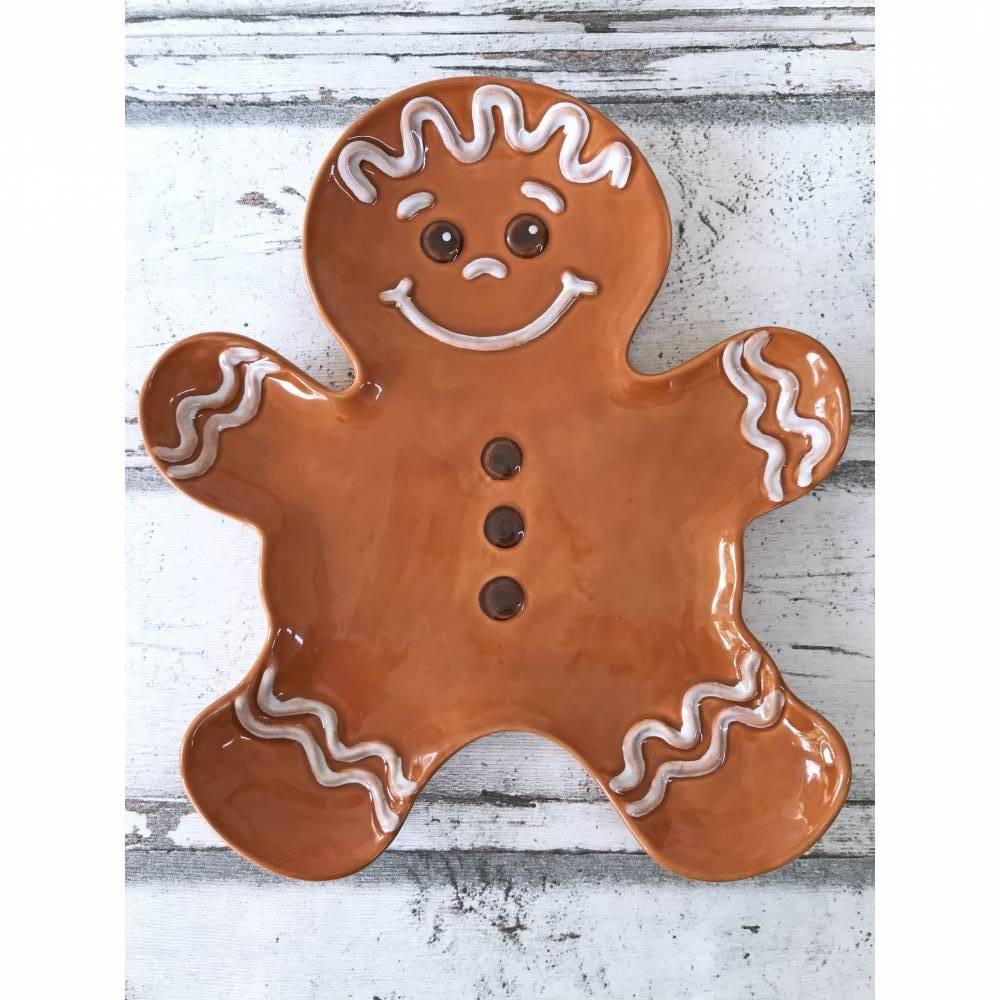 Teller, Form Lebkuchenmann, Plätzchenteller, Weihnachten, Keramik, handbemalt Bild 1