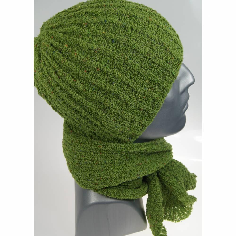 Mütze und Schal Set Herren grün Bild 1