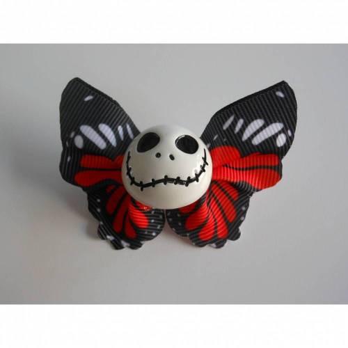 Brosche Skull  Schmetterling  Stoff Totenkopf rot schwarz weiss