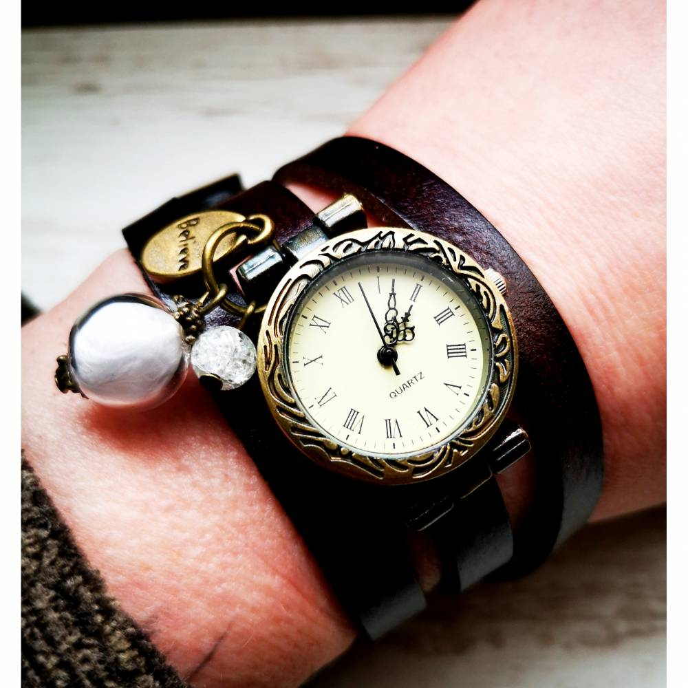 Armbanduhr, Wickeluhr, Lederuhr, echt Leder,  Vintage-Stil,  Uhr, Quarzuhr,Damenuhr,belive Bild 1