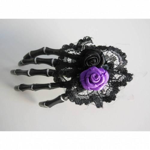 Skull, Totenkopf ,Rosen   Skeletthand Haarklammer gothic