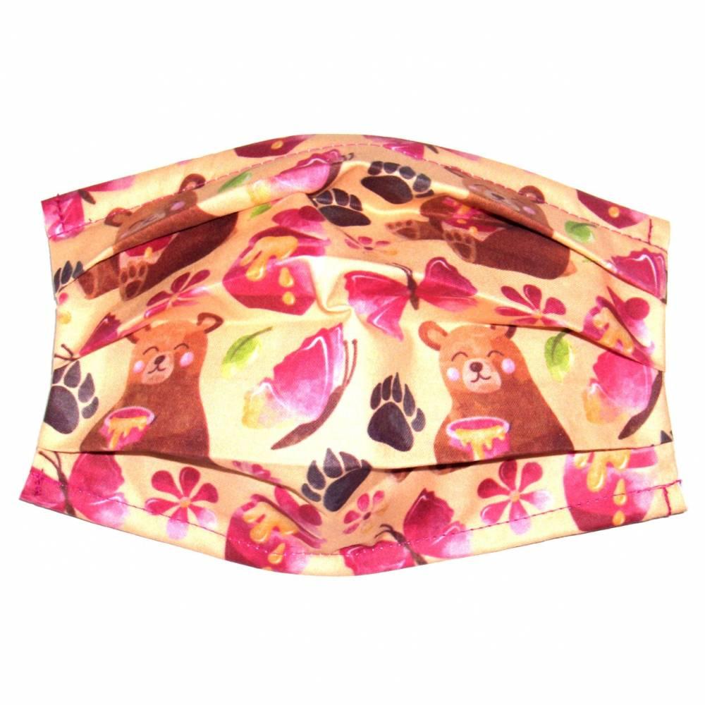 """MuNaske - Behelfs-Mund-Nase-Maske """"Honigbär"""", Größe M, genäht aus Baumwollstoff, mit Nasenbügel - Waschbar - Behelfsmaske - Alltagsmaske Bild 1"""