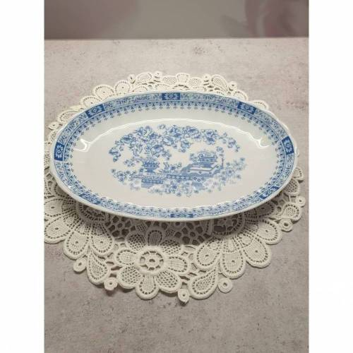 Vintage kleine ovale Platte, Porzellan, blaues Muster