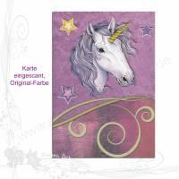 """Handgemachte Klapp-Grußkarte """"Einhorn-Moonlight 001"""", lila, keine Versandkosten Bild 1"""