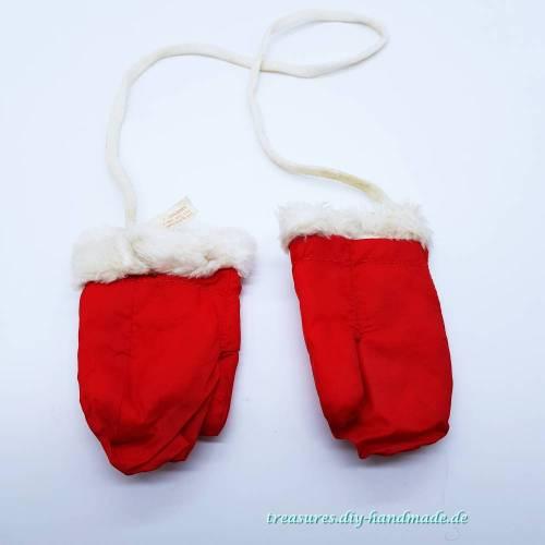 Vintage, Baby rote Baby Handschuhe Größe 1