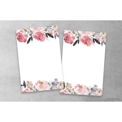 Tischkarte Hochzeit Peony Rosa Flieder A6 Tischnummer selber beschriften