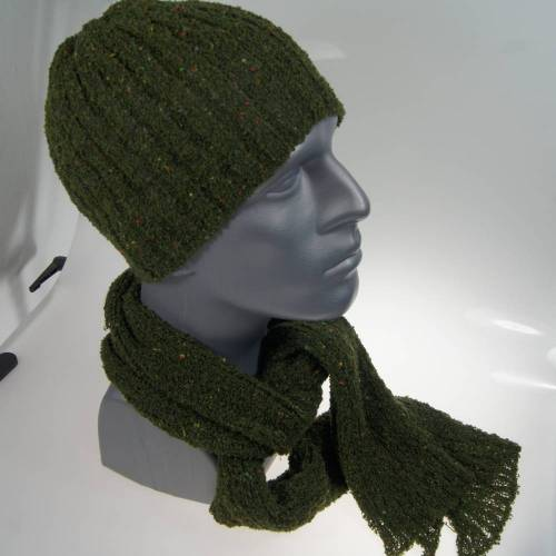 Mütze und Schal Set Herren dunkelgrünr