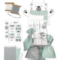 Adventskalender zum Aufhängen und selbst Befüllen Eisbär-Motiv - Komplettset mit Schnur, Papiertüten & Adventskalenderza Bild 1