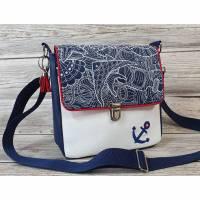 Tasche / Umhängetasche / Kunstledertasche blau / weiß maritim Bild 1