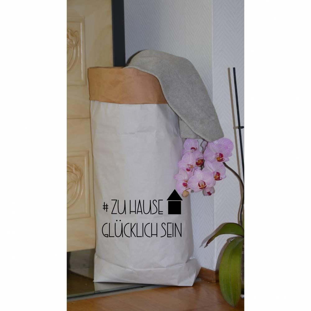 """Papiersack - Paperbag """"#zuhause glücklich sein"""" - zur Aufbewahrung von allem was gerade keinen Platz hat und ein toller Eyecatchter  Bild 1"""