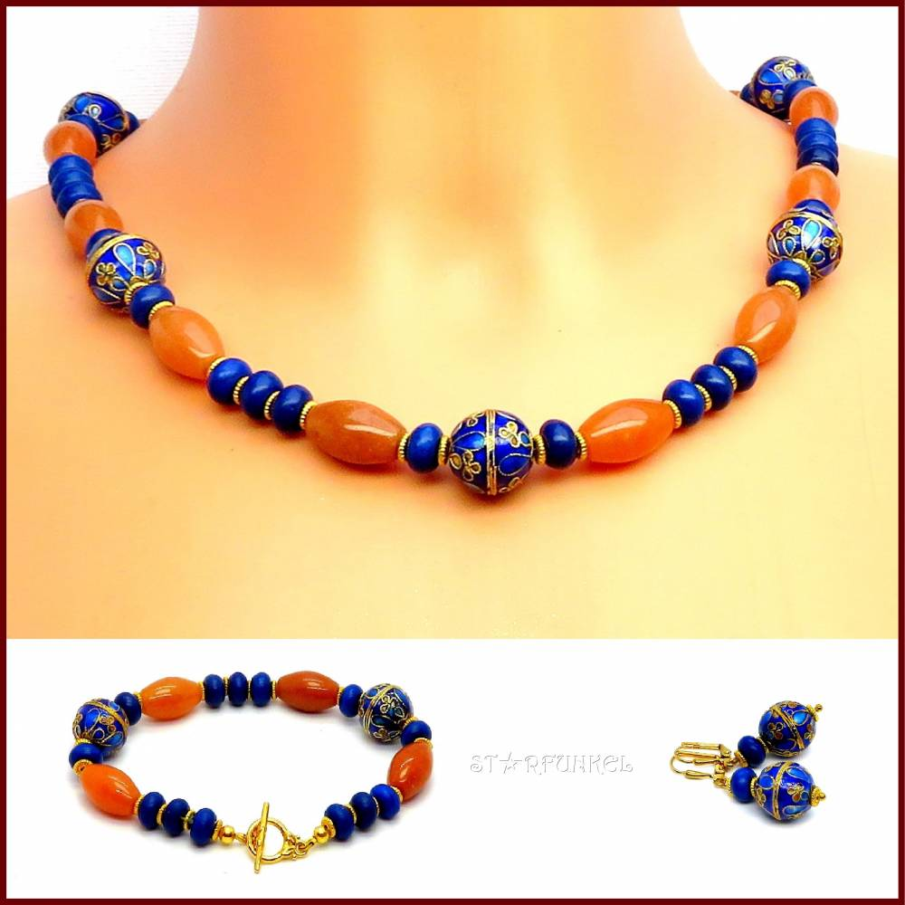 """Schmuckset """"Honey Blue"""" Kette, Armband und Ohrringe Aventurin/ Howlith honig/blau, Cloisonné Perlen, vergoldet Bild 1"""