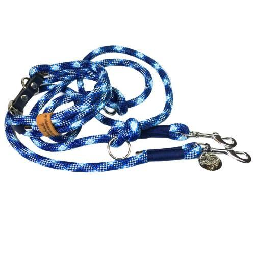 Leine Halsband Set verstellbar dunkelblau blau weiß, mit Leder und Schnalle