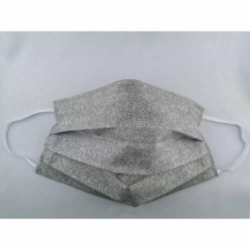 Business grau mit kleinem Muster, Gesichtsmaske, Behelfsmaske, Alltagsmaske, Nasenbügel, Stoffmaske, Behelfs