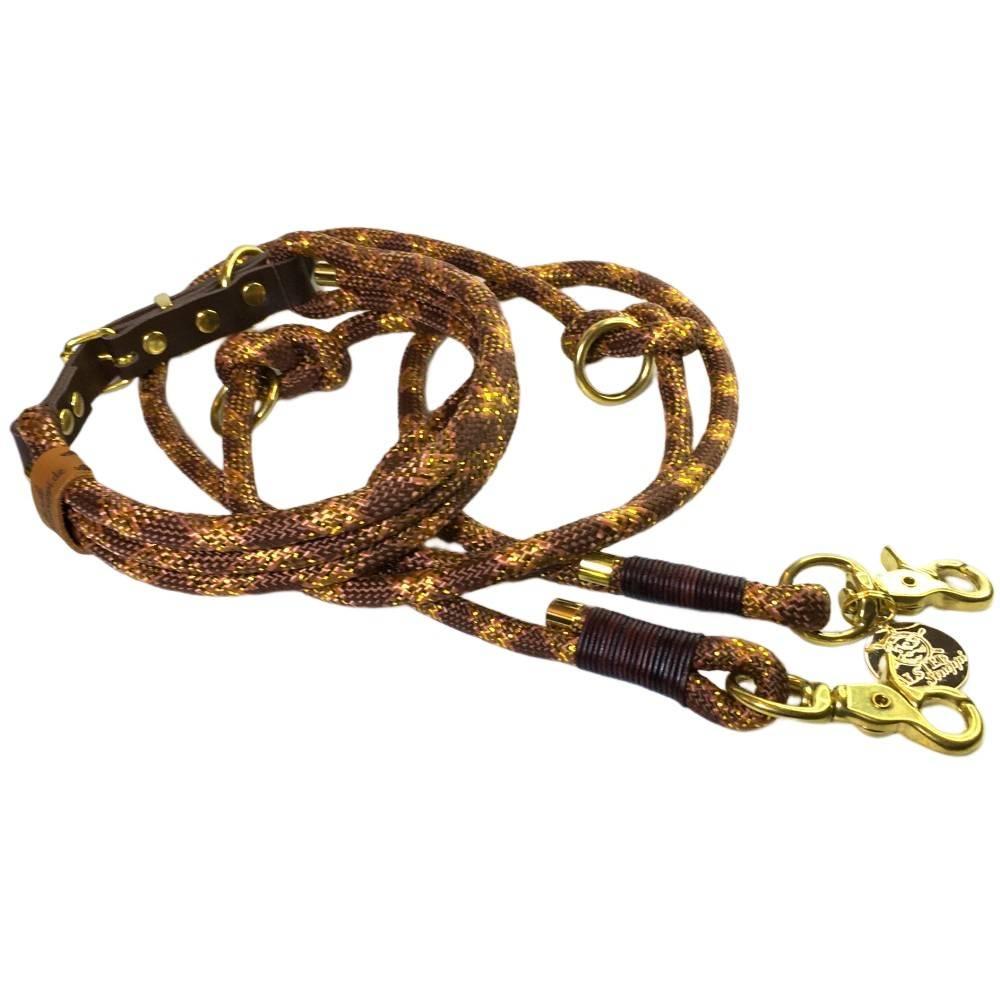 Leine Halsband Set verstellbar braun hellbraun karamell gold Glitzer, mit Leder und Schnalle  Bild 1