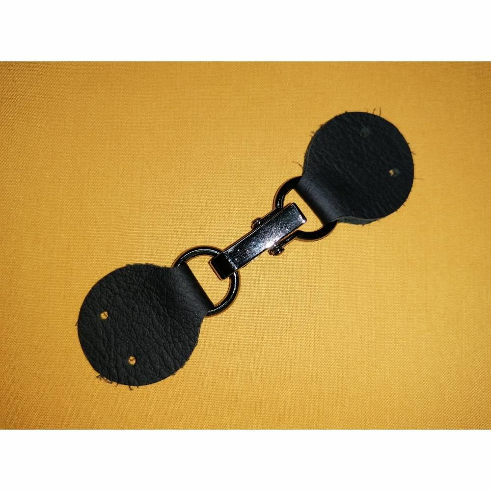 Taschenverschluss Echtleder schwarz #1 Bild 1