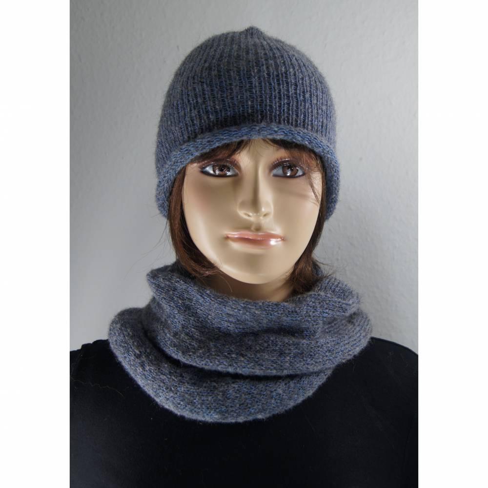 Mütze und Schal Set Kid Mohair und Baumwolle  Bild 1