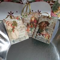 6 schöne Geschenkanhänger für Weihnachten, zweilagig, Set goldener Sternenregen glatt Bild 1