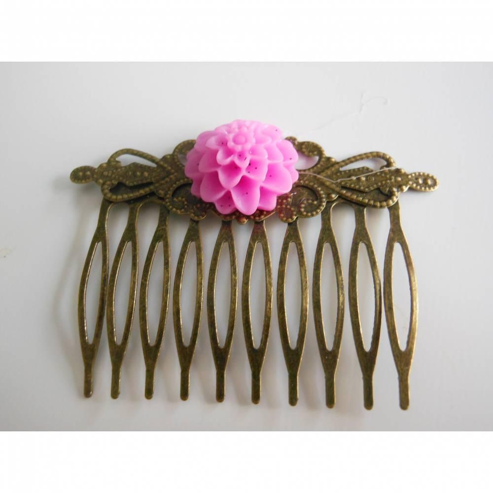 Bronze Haarkamm mit Blüte  Vintage Renaissance lila  Bild 1