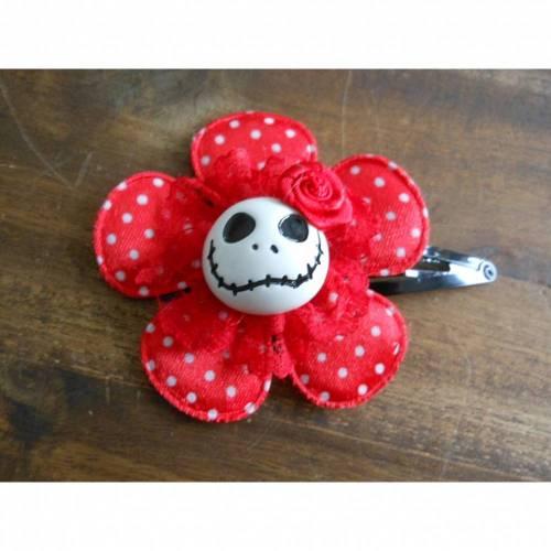 Skull  Blume Stoff rot Totenkopf ,Haarspange ,cosplay, Spitze,
