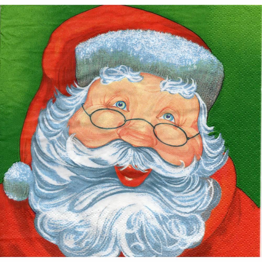 4 Servietten / Motivservietten   Weihnachtsmann    W 302 Bild 1