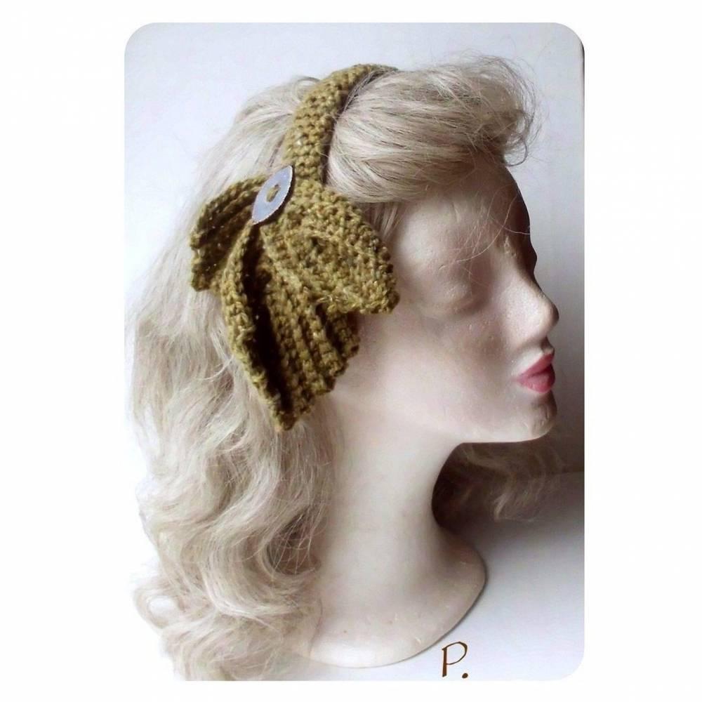 RETRO Haarschmuck; Kopfputz; Haar-Reif / mit handgefertigtem Keramikknopf /  senfgelb / one size Bild 1
