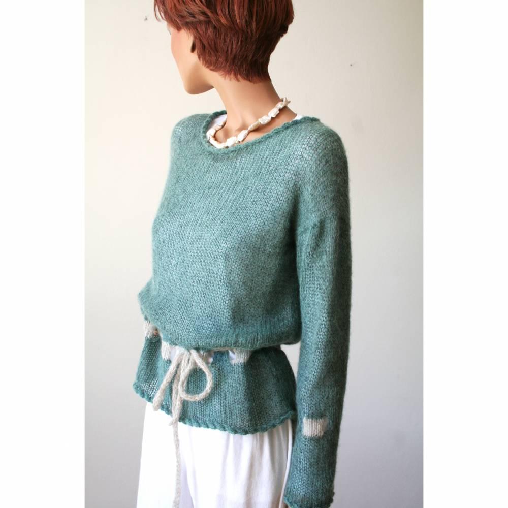 Gestrickter Damen-Pullover aus Alpaka in Blaugrün, Langarm-Pulli in Petrol Bild 1