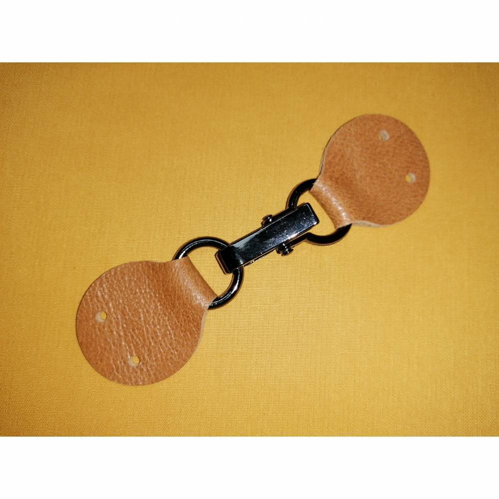 Taschenverschluss Echtleder cognac Bild 1