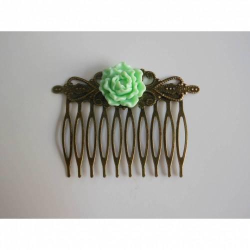 Bronze Haarkamm mit Blüte  Vintage Renaissance grün