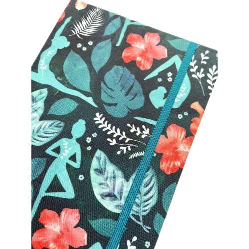 "Notizbuch ""Namaste/Petrol"" Blanko Hardcover stoffbezogen A5  Yoga Yogafan Geschenk Geschenkidee Bild 1"