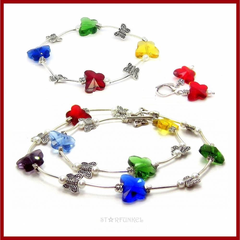 """Schmuckset """"Butterfly"""" Kette, Armband und Ohrringe, Schmetterlinge Kristall bunt/versilbert Bild 1"""