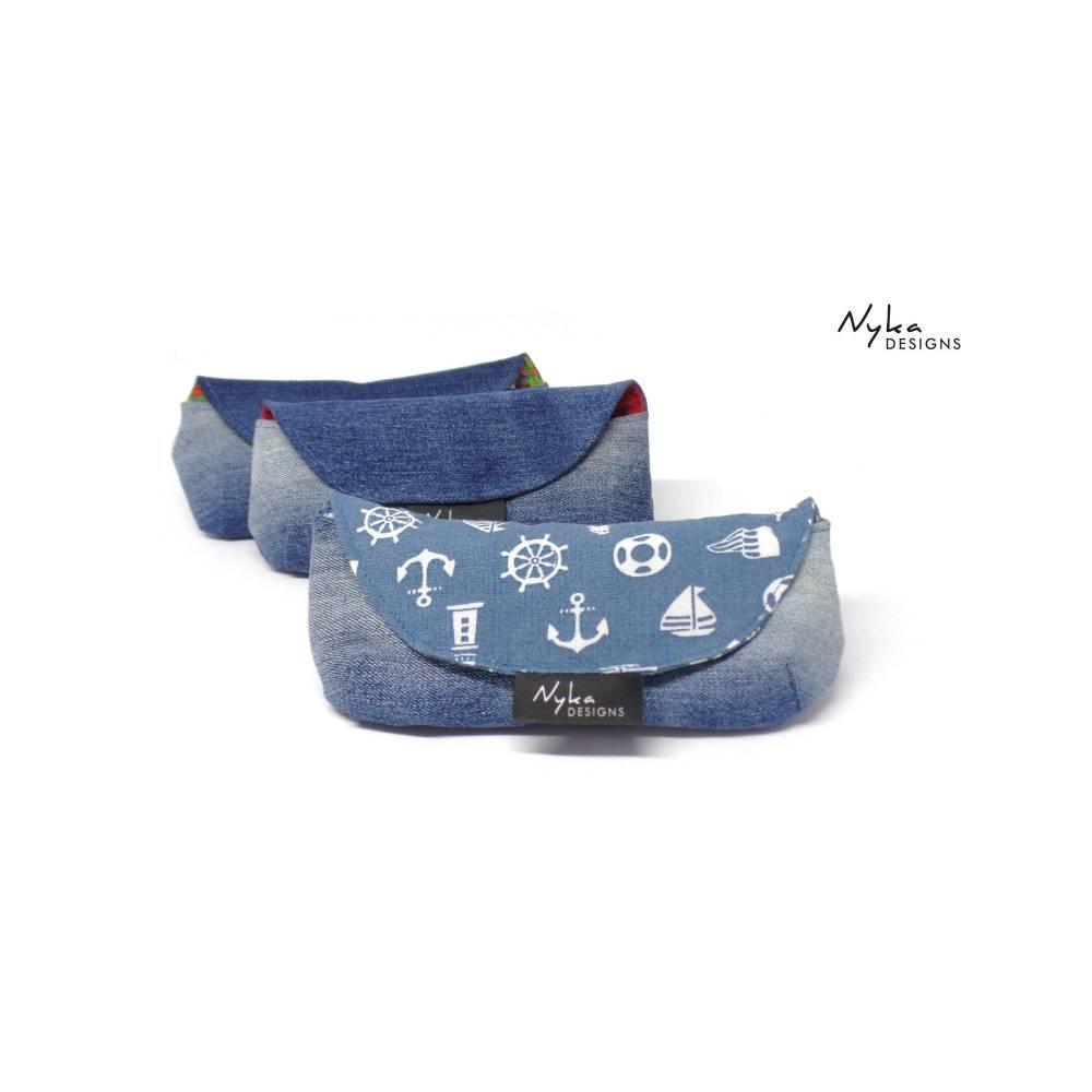 Brillenetui aus blue Jeans mit Kompass Anker für Lesebrillen und schmale Brillen Bild 1