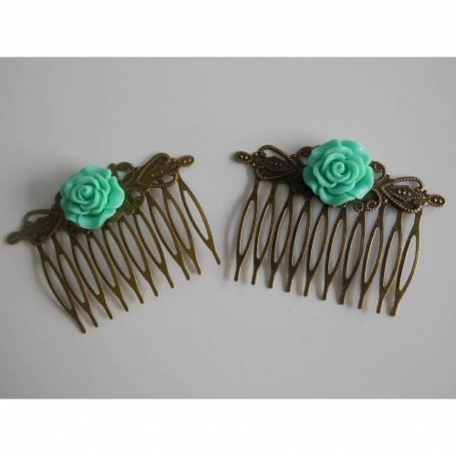1 Paar Bronze Haarkamm mit Blüte  Vintage Renaissance grün