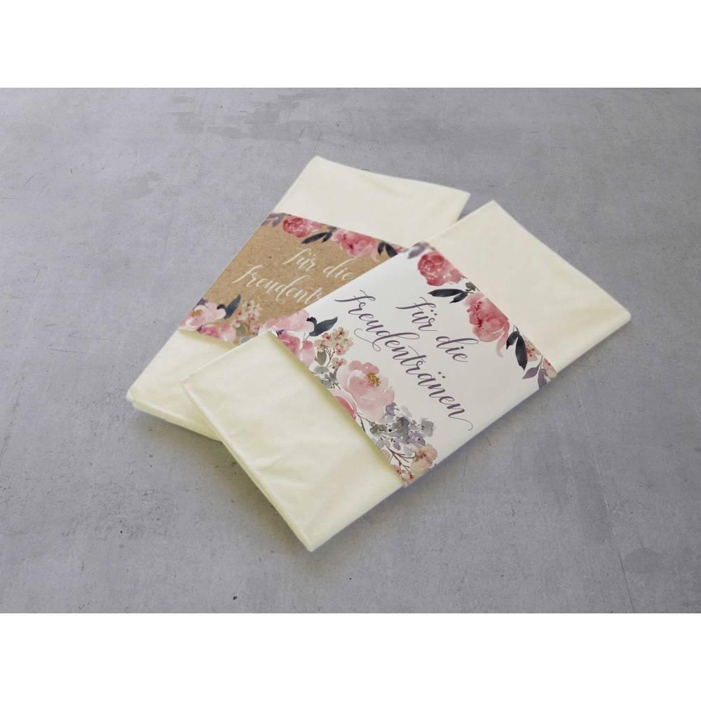 50 Stück Freudentränen Hochzeit Taschentuch Banderolen Peony Kraftpapier-Look Bild 1