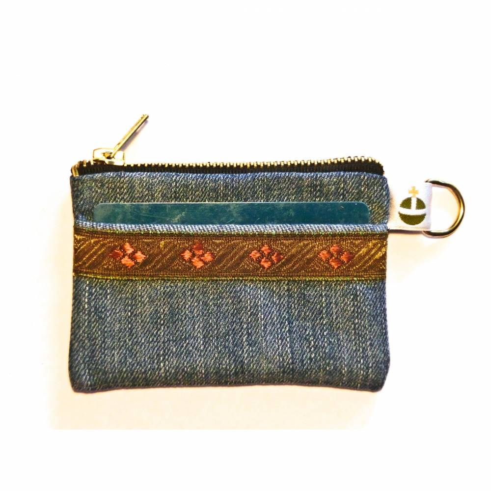 Jeans-Geldbörse, Schlüsseletui, Kopfhöhrertasche, Kreditkartentasche,Geldtasche, Upcycling Bild 1