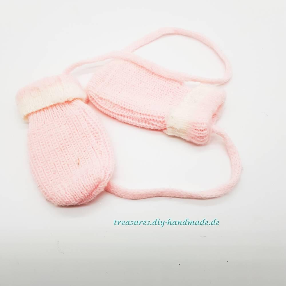 Vintage, rosa Baby Handschuhe Größe 1 Bild 1
