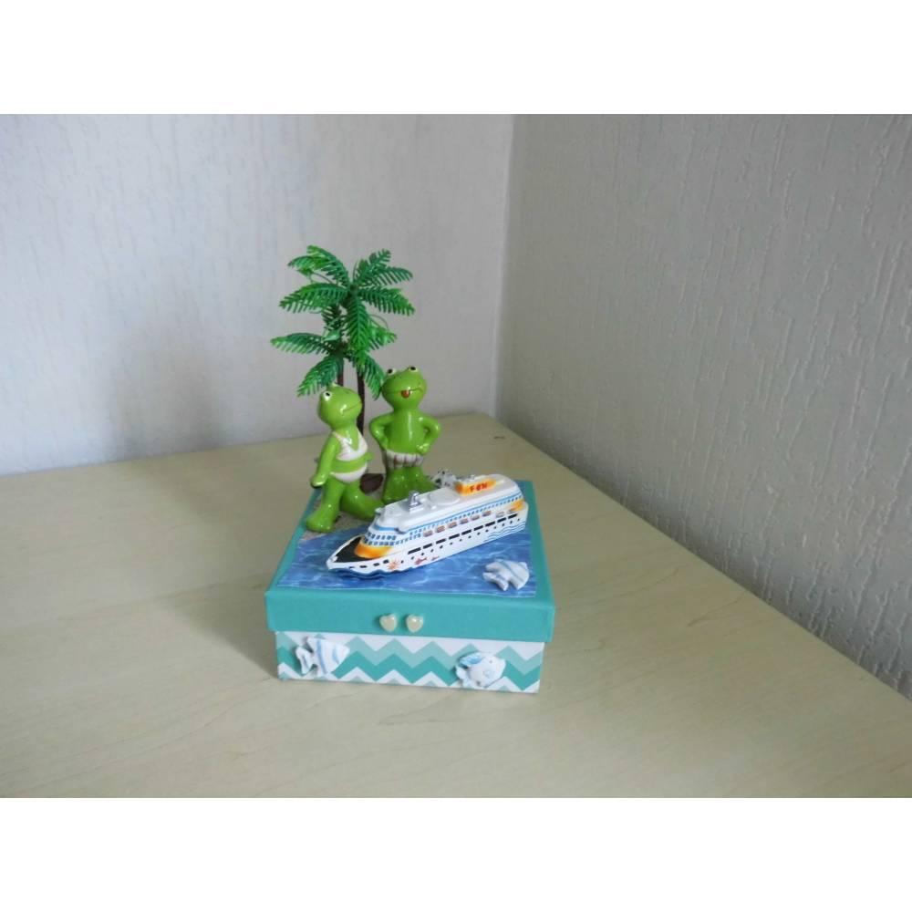 Geldgeschenk Kreuzfahrt Urlaub Strand Palmen Meer Geschenkbox Hochzeitsreise Bild 1