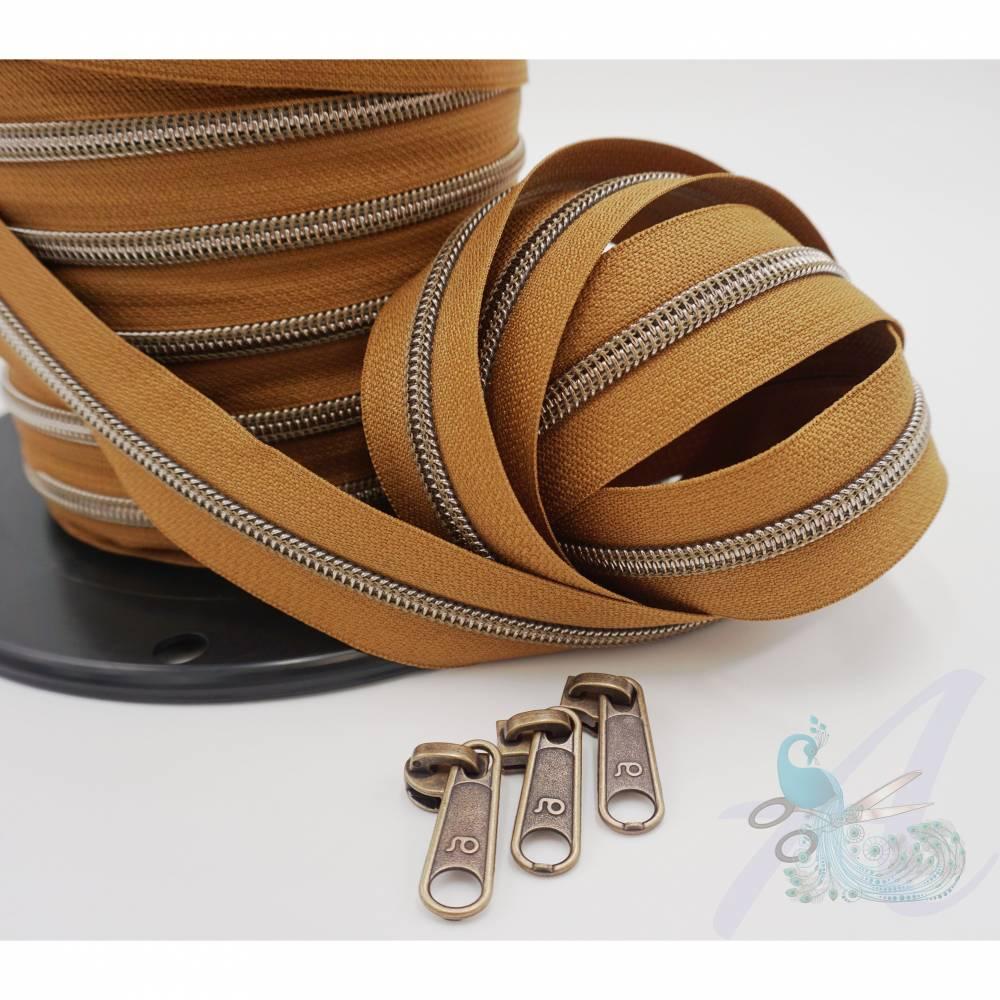 1m endlos Reißverschluss inkl. 3 Zippern - breit metallisiert caramel - Altmessing Bild 1