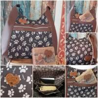 Handtasche, Umhängetasche, Hobo Bag, Pfoten, Kunstleder, Outdoorstoff, Einzelstück Bild 1